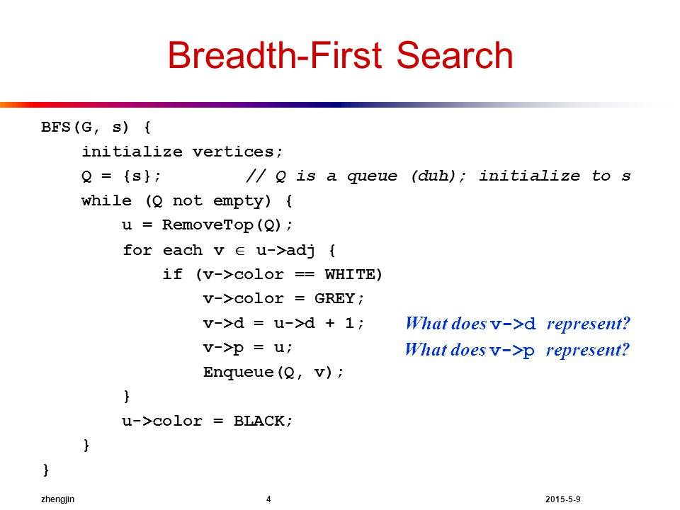 zhengjin 4 2015-5-9 Breadth-First Search BFS(G, s) { initialize vertices; Q = {s};// Q is a queue (duh); initialize to s while (Q not empty) { u = RemoveTop(Q); for each v  u->adj { if (v->color == WHITE) v->color = GREY; v->d = u->d + 1; v->p = u; Enqueue(Q, v); } u->color = BLACK; } What does v->p represent.