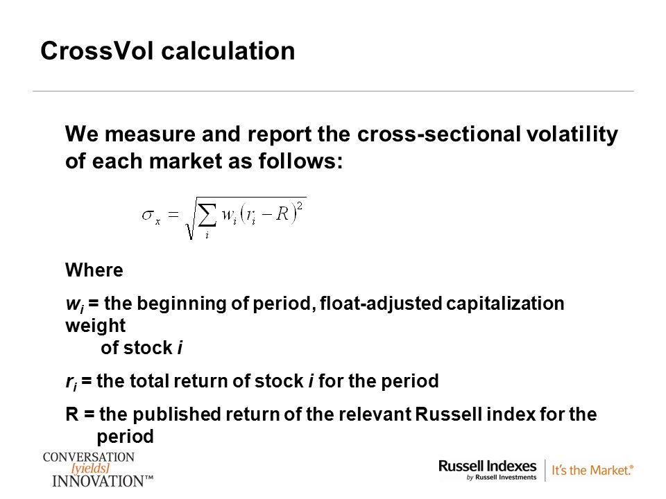 4 CrossVol calculation We measure and report the cross-sectional volatility of each market as follows: Where w i = the beginning of period, float-adju
