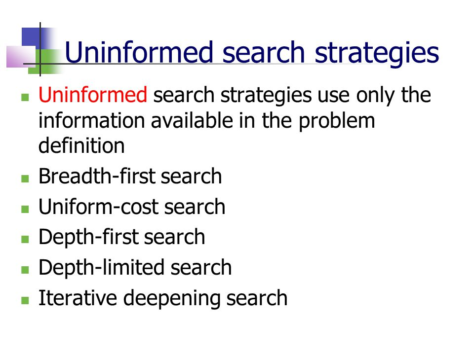 Uninformed search strategies Uninformed search strategies use only the information available in the problem definition Breadth-first search Uniform-co