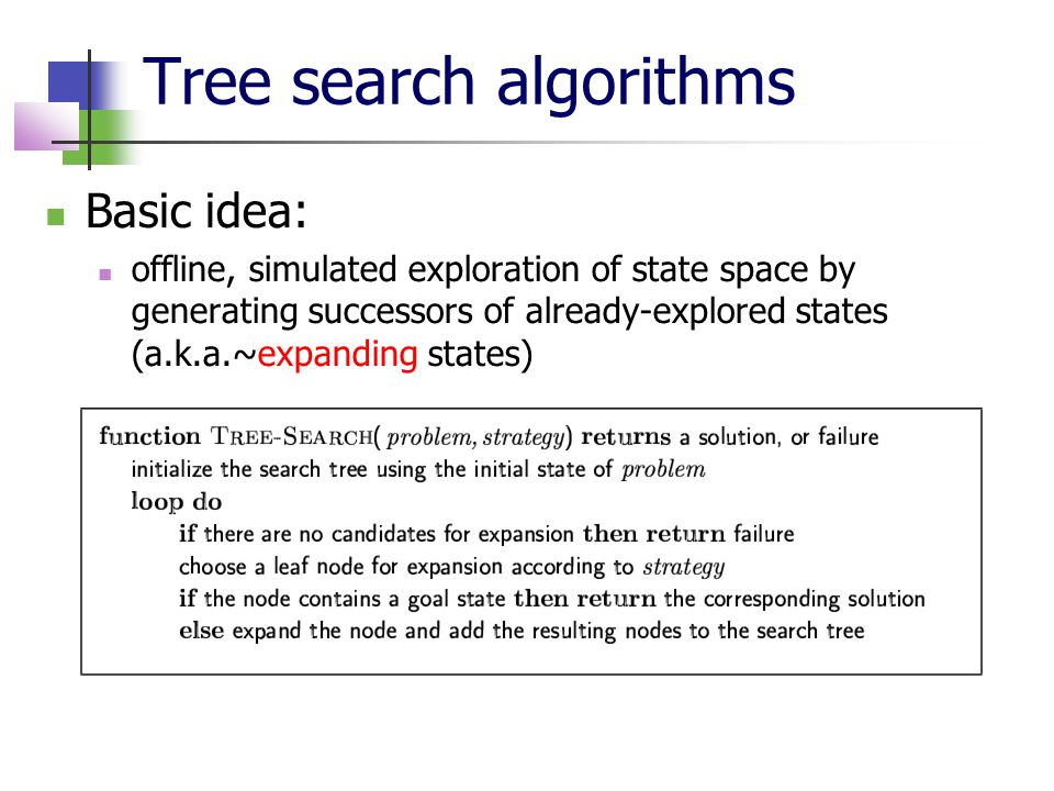 Tree search algorithms Basic idea: offline, simulated exploration of state space by generating successors of already-explored states (a.k.a.~expanding