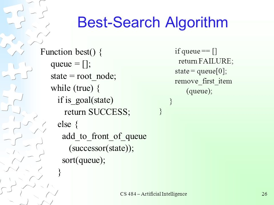 CS 484 – Artificial Intelligence26 Best-Search Algorithm Function best() { queue = []; state = root_node; while (true) { if is_goal(state) return SUCCESS; else { add_to_front_of_queue (successor(state)); sort(queue); } if queue == [] return FAILURE; state = queue[0]; remove_first_item (queue); }