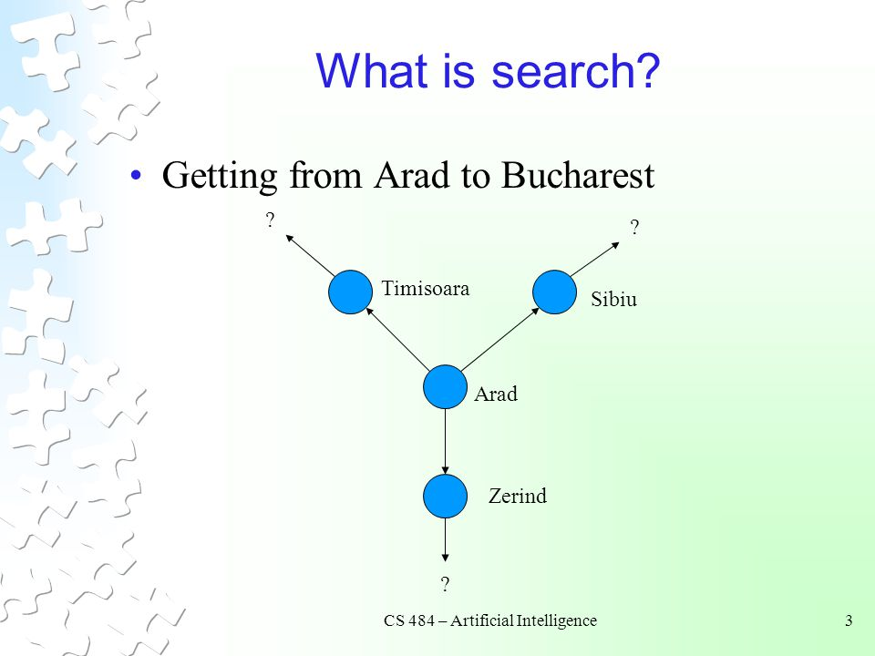 CS 484 – Artificial Intelligence3 What is search. Getting from Arad to Bucharest .