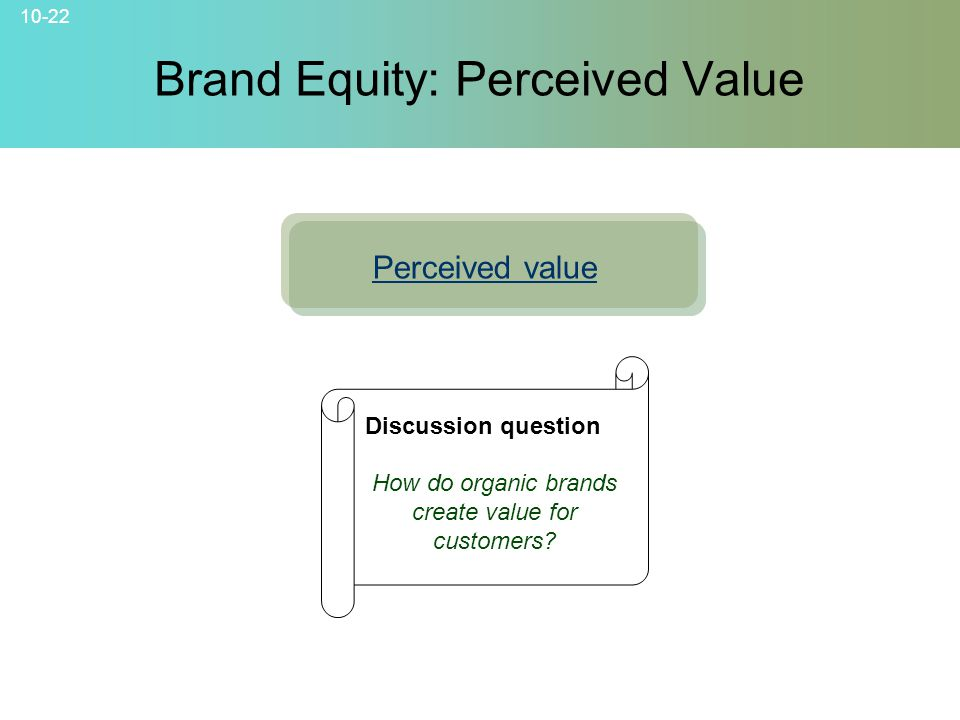 10-22 © 2007 McGraw-Hill Companies, Inc., McGraw-Hill/Irwin Brand Equity: Perceived Value Perceived value Discussion question How do organic brands cr