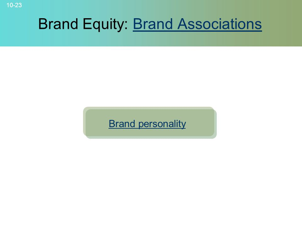 10-23 © 2007 McGraw-Hill Companies, Inc., McGraw-Hill/Irwin Brand Equity: Brand AssociationsBrand Associations Brand personality