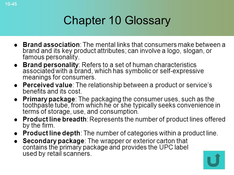 10-45 Chapter 10 Glossary © 2007 McGraw-Hill Companies, Inc., McGraw-Hill/Irwin Brand association: The mental links that consumers make between a bran