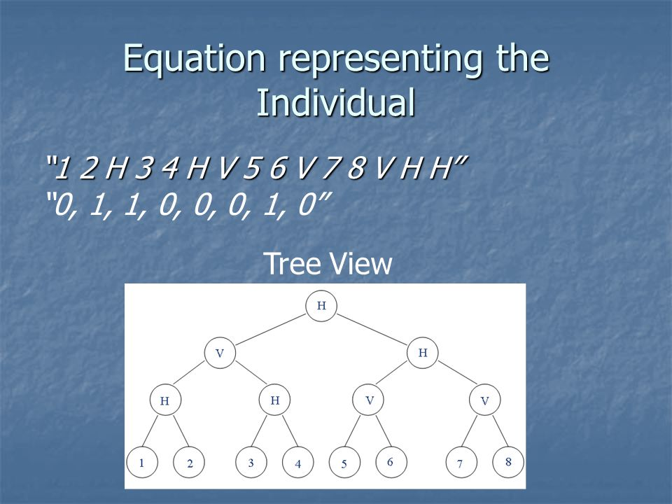 Equation representing the Individual 1 2 H 3 4 H V 5 6 V 7 8 V H H 0, 1, 1, 0, 0, 0, 1, 0 Tree View