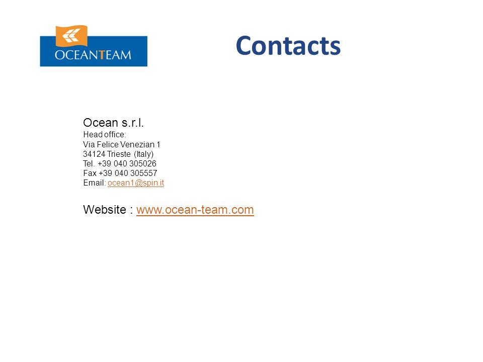 Contacts Ocean s.r.l. Head office: Via Felice Venezian 1 34124 Trieste (Italy) Tel.