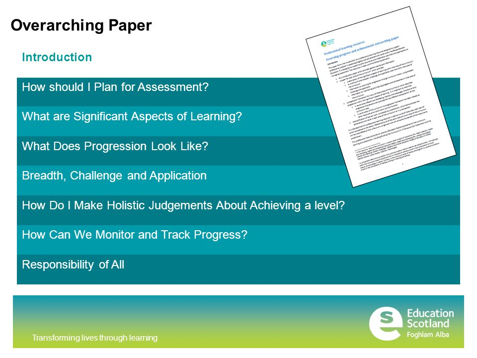 Transforming lives through learning Overarching Paper Introduction How should I Plan for Assessment.