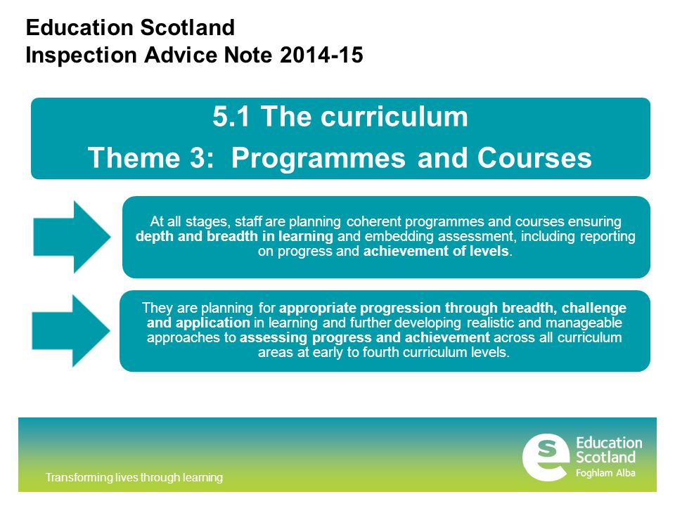 Transforming lives through learning Education Scotland Inspection Advice Note 2014-15 5.1 The curriculum Theme 3: Programmes and Courses At all stages, staff are planning coherent programmes and courses ensuring depth and breadth in learning and embedding assessment, including reporting on progress and achievement of levels.
