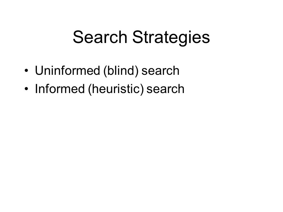 Search Strategies Uninformed (blind) search Informed (heuristic) search