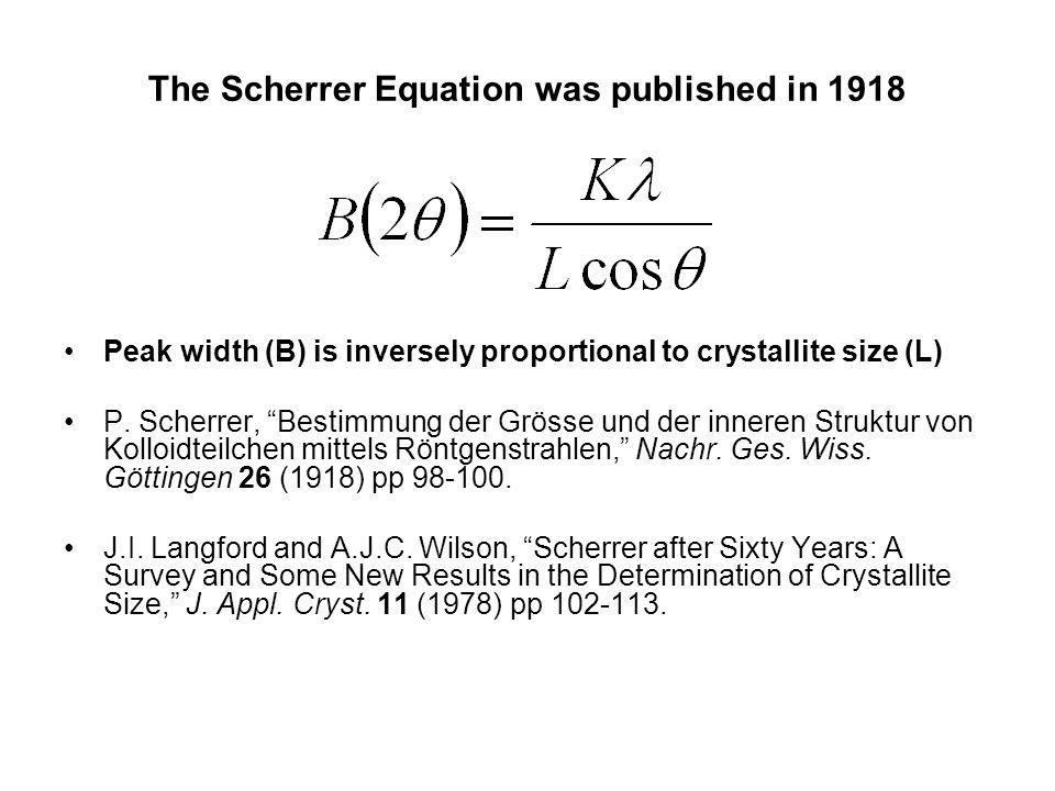"""The Scherrer Equation was published in 1918 Peak width (B) is inversely proportional to crystallite size (L) P. Scherrer, """"Bestimmung der Grösse und d"""