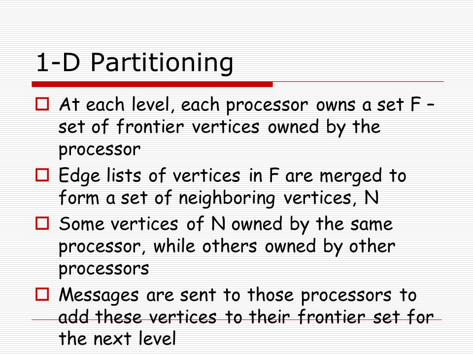 1-D Partitioning  At each level, each processor owns a set F – set of frontier vertices owned by the processor  Edge lists of vertices in F are merg