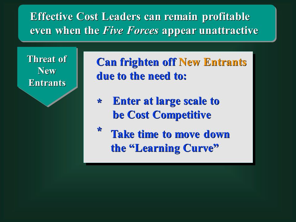 Effective Cost Leaders can remain profitable even when the Five Forces appear unattractive Threat of New Entrants Can frighten off New Entrants due to the need to: Enter at large scale to be Cost Competitive * * Take time to move down the Learning Curve * *