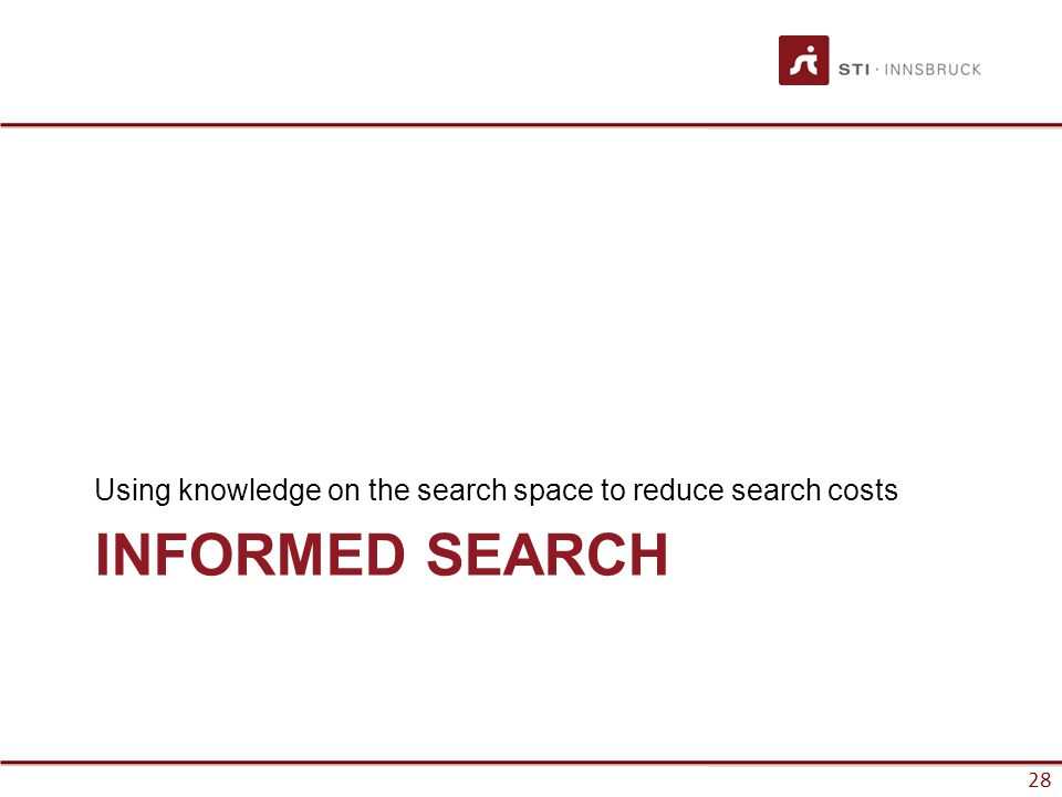 28 INFORMED SEARCH Using knowledge on the search space to reduce search costs