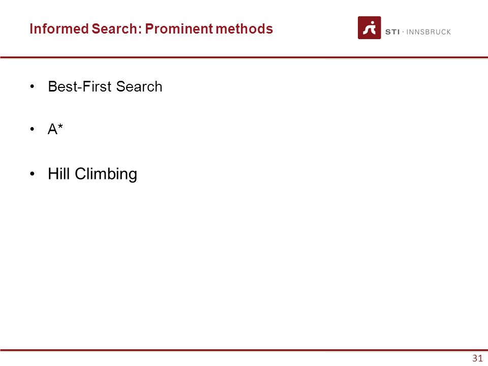 31 Informed Search: Prominent methods Best-First Search A* Hill Climbing