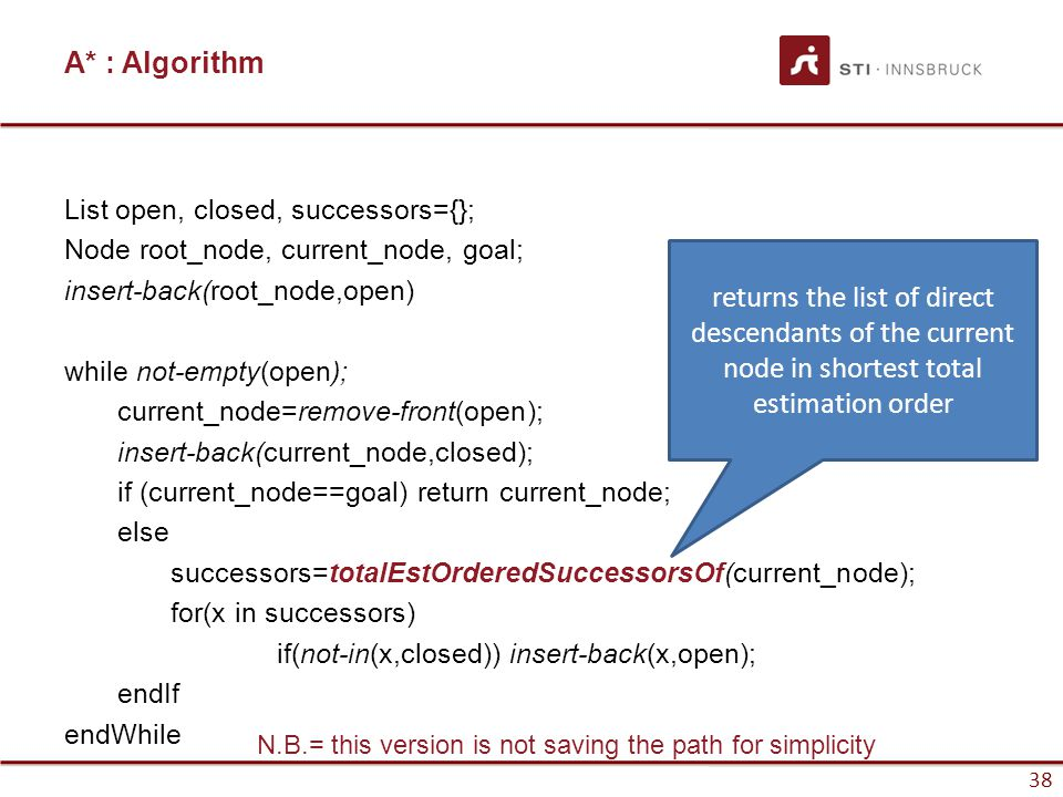 38 A* : Algorithm List open, closed, successors={}; Node root_node, current_node, goal; insert-back(root_node,open) while not-empty(open); current_node=remove-front(open); insert-back(current_node,closed); if (current_node==goal) return current_node; else successors=totalEstOrderedSuccessorsOf(current_node); for(x in successors) if(not-in(x,closed)) insert-back(x,open); endIf endWhile 38 N.B.= this version is not saving the path for simplicity returns the list of direct descendants of the current node in shortest total estimation order