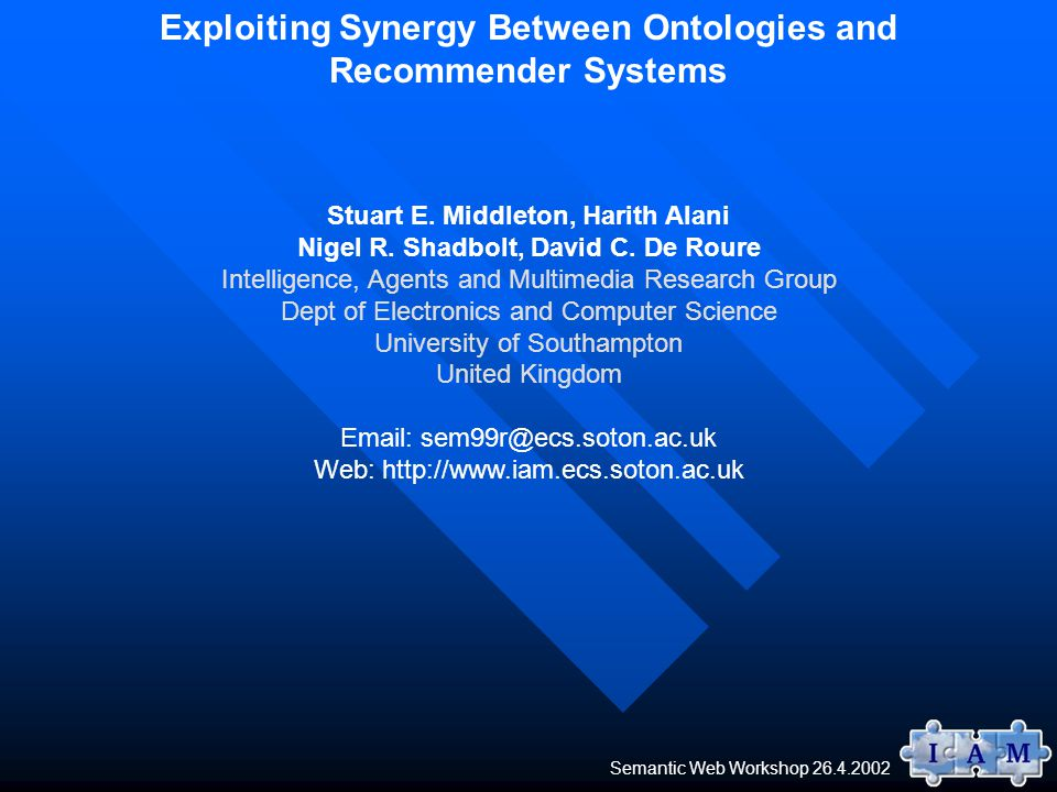 Semantic Web Workshop 26.4.2002 Exploiting Synergy Between Ontologies and Recommender Systems Stuart E.
