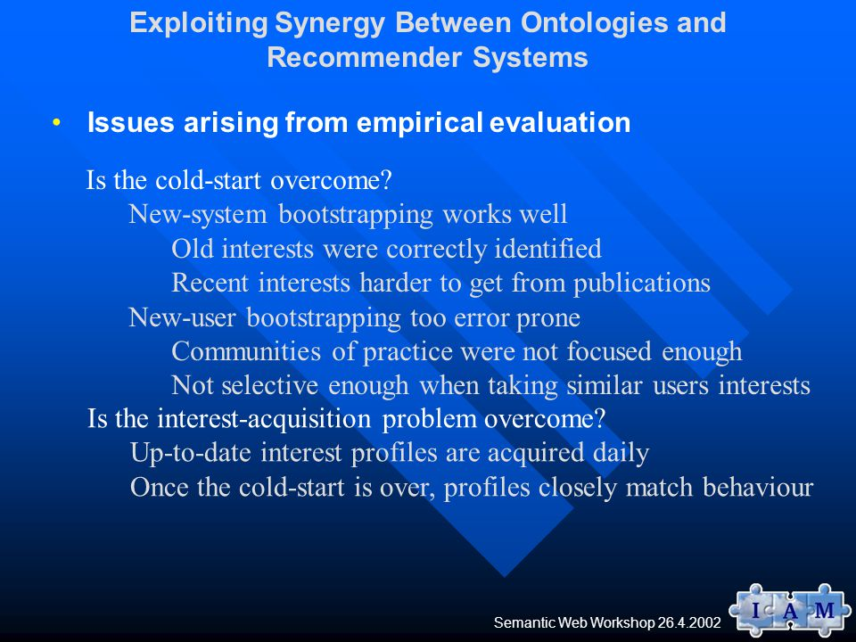 Issues arising from empirical evaluation Is the cold-start overcome.