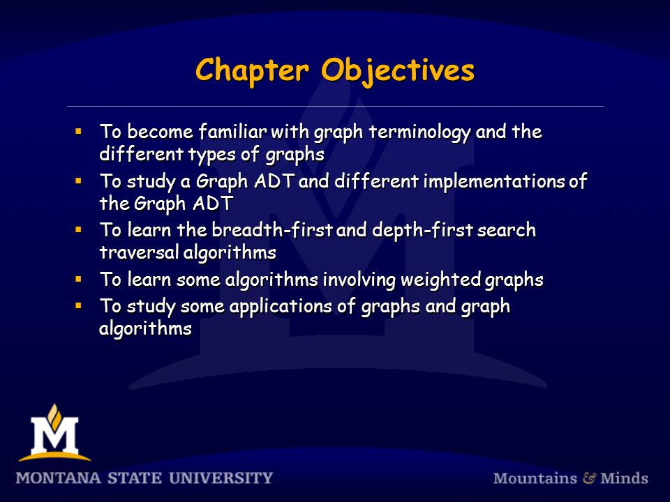 Chapter Objectives  To become familiar with graph terminology and the different types of graphs  To study a Graph ADT and different implementations of the Graph ADT  To learn the breadth-first and depth-first search traversal algorithms  To learn some algorithms involving weighted graphs  To study some applications of graphs and graph algorithms  To become familiar with graph terminology and the different types of graphs  To study a Graph ADT and different implementations of the Graph ADT  To learn the breadth-first and depth-first search traversal algorithms  To learn some algorithms involving weighted graphs  To study some applications of graphs and graph algorithms