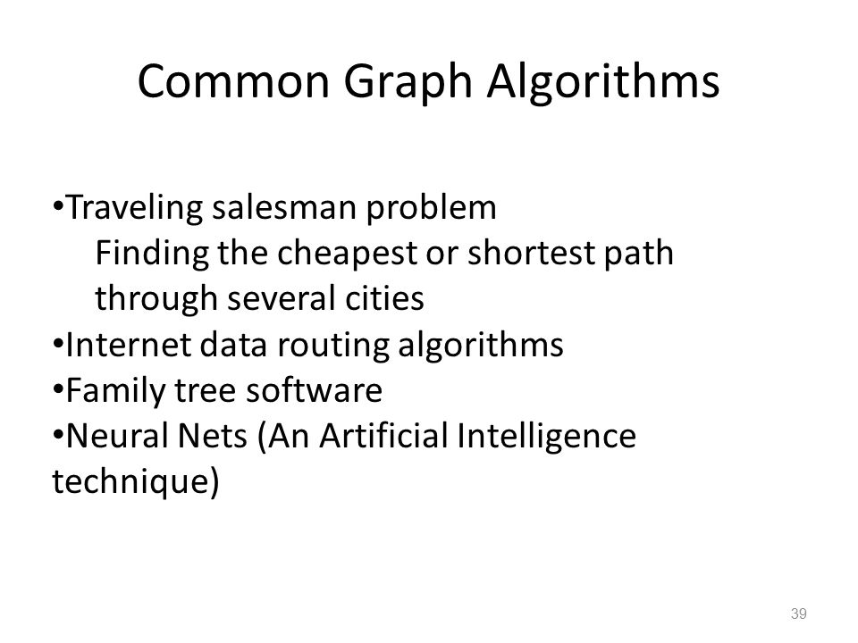 Common Graph Algorithms 39 Traveling salesman problem Finding the cheapest or shortest path through several cities Internet data routing algorithms Fa