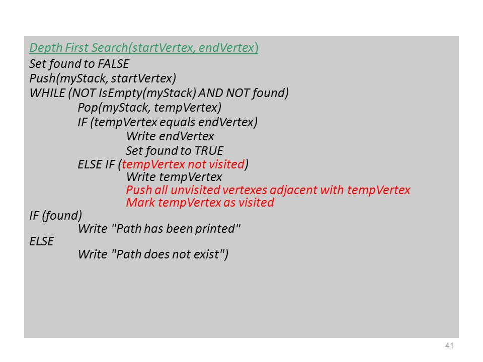 Depth First Search(startVertex, endVertex ) Set found to FALSE Push(myStack, startVertex) WHILE (NOT IsEmpty(myStack) AND NOT found) Pop(myStack, temp