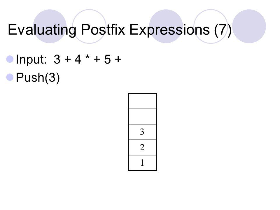 Evaluating Postfix Expressions (7) Input: 3 + 4 * + 5 + Push(3) 3 2 1