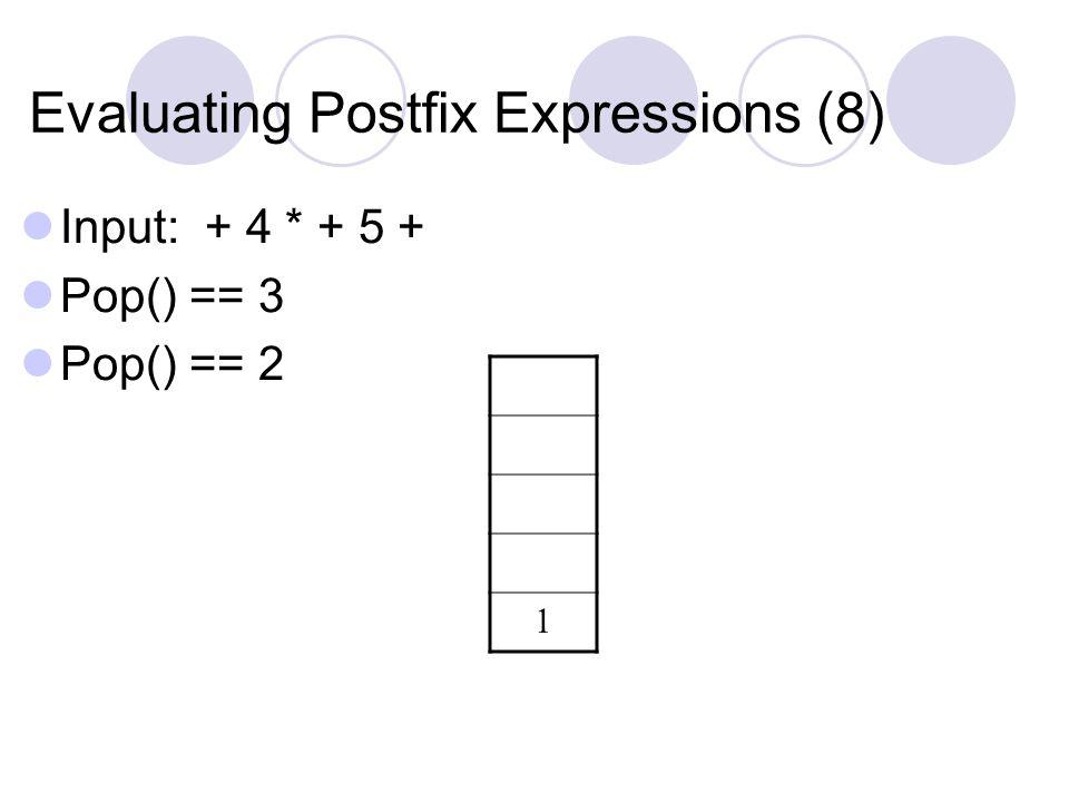 Evaluating Postfix Expressions (8) Input: + 4 * + 5 + Pop() == 3 Pop() == 2 1