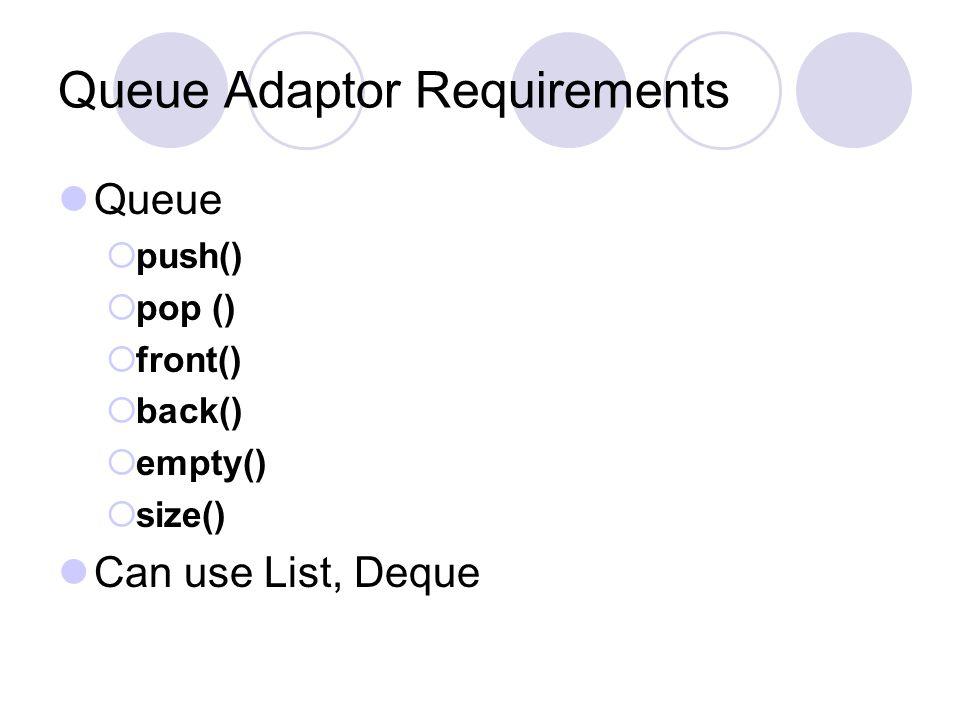 Queue Adaptor Requirements Queue  push()  pop ()  front()  back()  empty()  size() Can use List, Deque