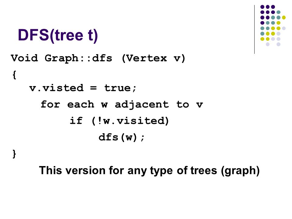DFS(tree t) Void Graph::dfs (Vertex v) { v.visted = true; for each w adjacent to v if (!w.visited) dfs(w); } This version for any type of trees (graph)