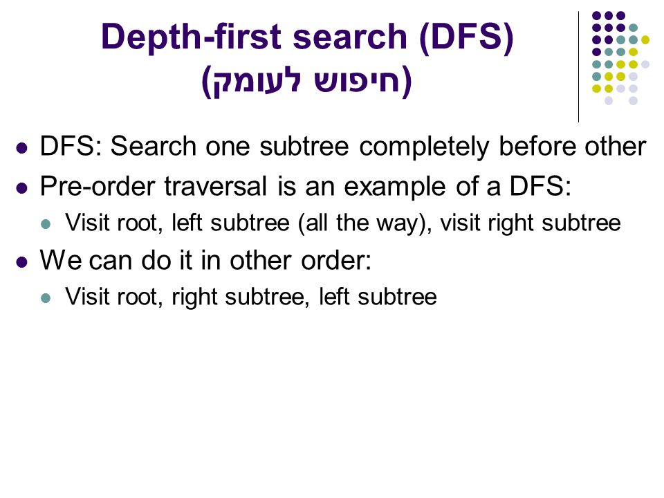 Depth-first search (DFS) חיפוש לעומק)) DFS: Search one subtree completely before other Pre-order traversal is an example of a DFS: Visit root, left subtree (all the way), visit right subtree We can do it in other order: Visit root, right subtree, left subtree