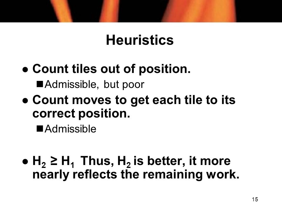 15 Heuristics l Count tiles out of position. nAdmissible, but poor l Count moves to get each tile to its correct position. nAdmissible l H 2 ≥ H 1 Thu
