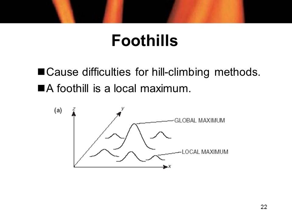 22 Foothills nCause difficulties for hill-climbing methods. nA foothill is a local maximum.