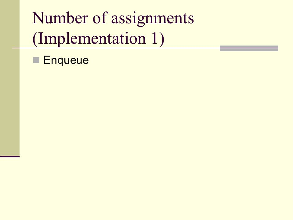 Number of assignments (Implementation 1) Enqueue