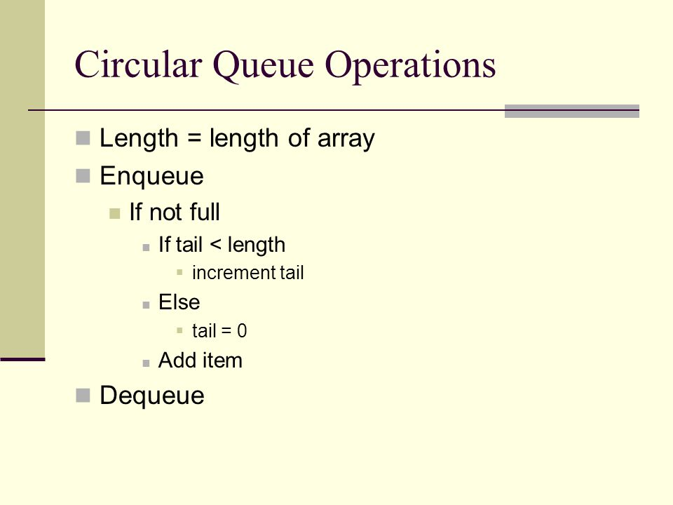 Circular Queue Operations Length = length of array Enqueue If not full If tail < length  increment tail Else  tail = 0 Add item Dequeue