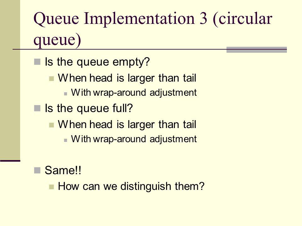 Queue Implementation 3 (circular queue) Is the queue empty.