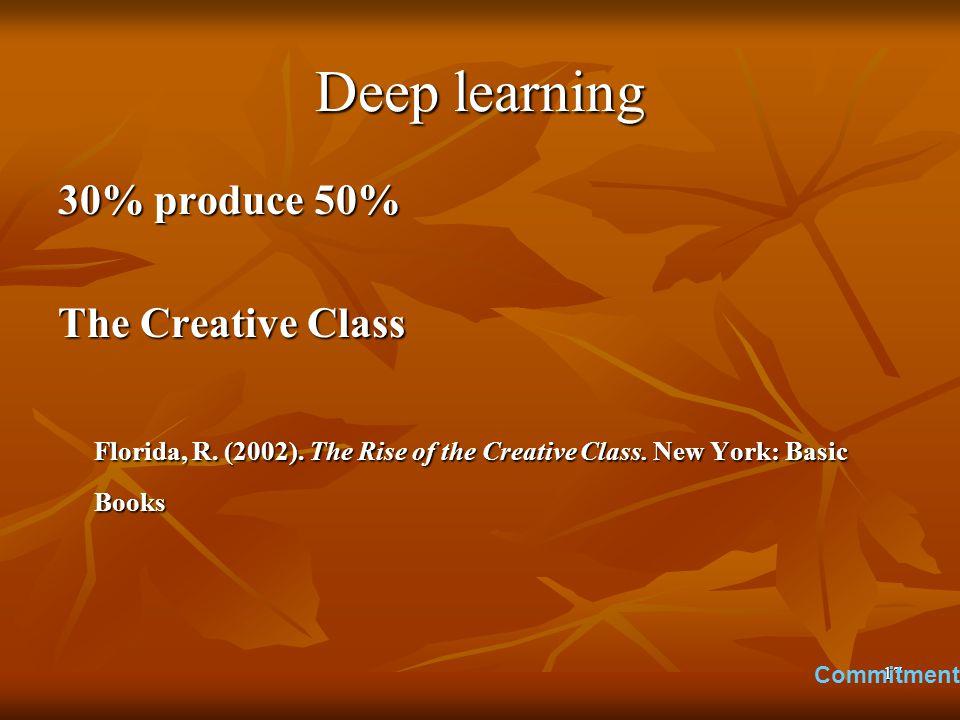17 Deep learning 30% produce 50% The Creative Class Florida, R.