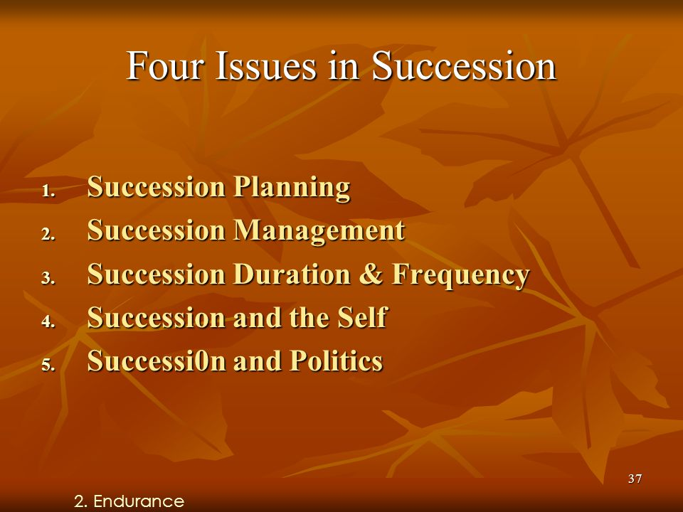 37 Four Issues in Succession 1. Succession Planning 2.