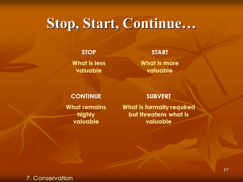 57 Stop, Start, Continue… STOP What is less valuable START What is more valuable CONTINUE What remains highly valuable SUBVERT What is formally required but threatens what is valuable 7.