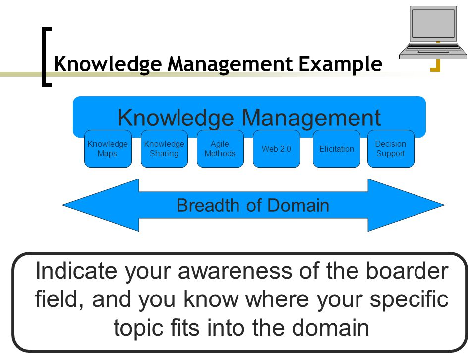 Knowledge Management Example Knowledge Management Web 2.0 Knowledge Sharing Agile Methods Elicitation Knowledge Maps Decision Support Breadth of Domain Indicate your awareness of the boarder field, and you know where your specific topic fits into the domain