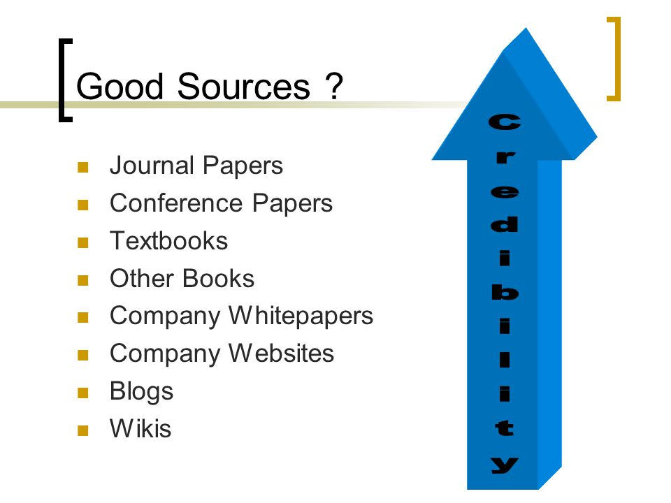 Good Sources ? Journal Papers Conference Papers Textbooks Other Books Company Whitepapers Company Websites Blogs Wikis
