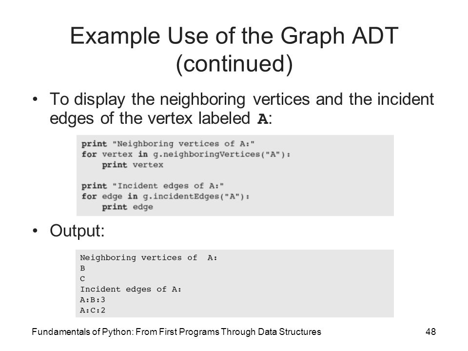 Fundamentals of Python: From First Programs Through Data Structures48 Example Use of the Graph ADT (continued) To display the neighboring vertices and