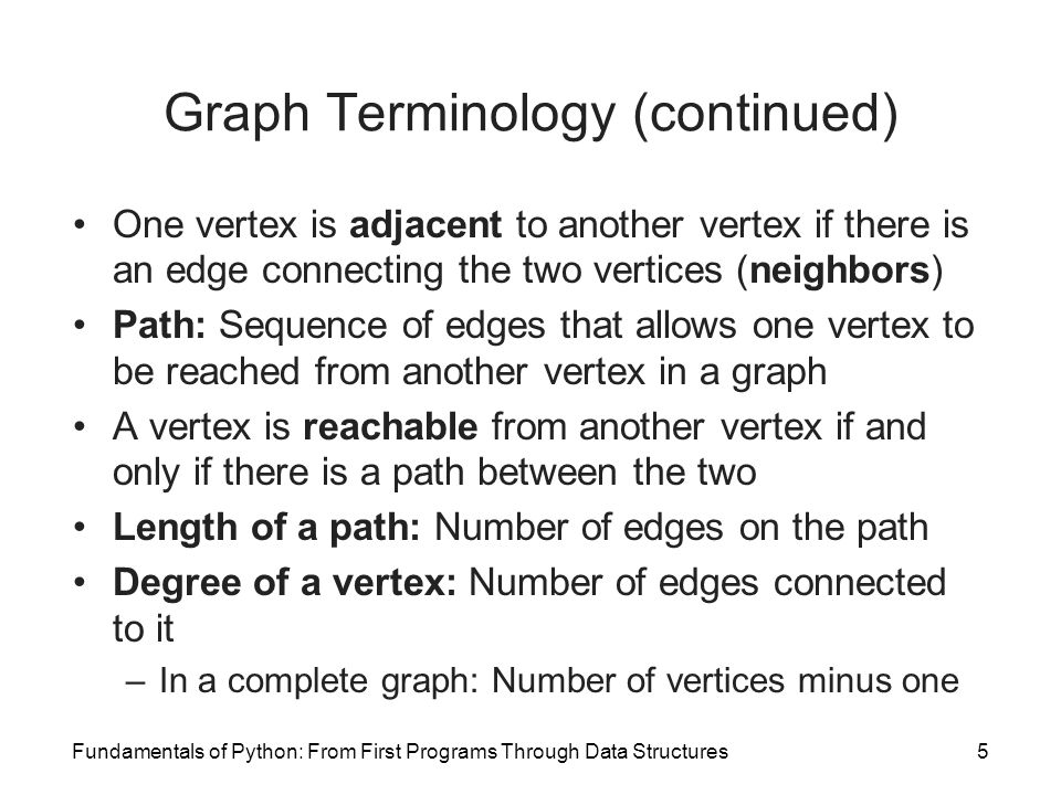 Fundamentals of Python: From First Programs Through Data Structures5 Graph Terminology (continued) One vertex is adjacent to another vertex if there i