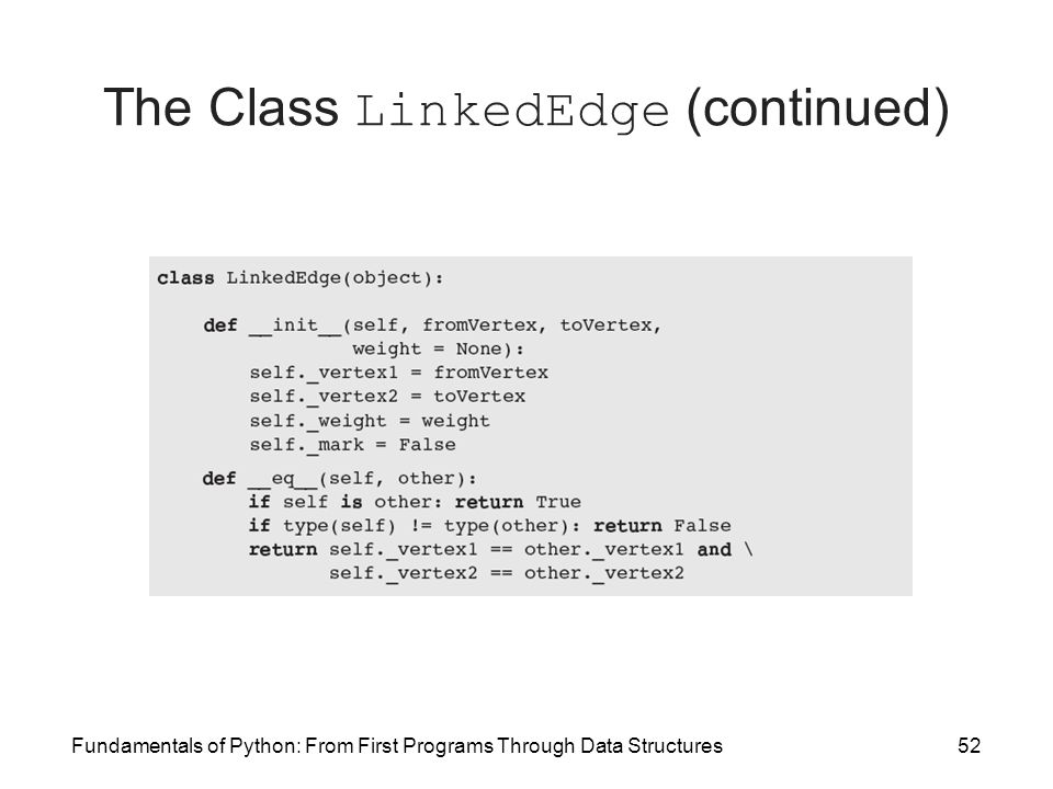 Fundamentals of Python: From First Programs Through Data Structures52 The Class LinkedEdge (continued)
