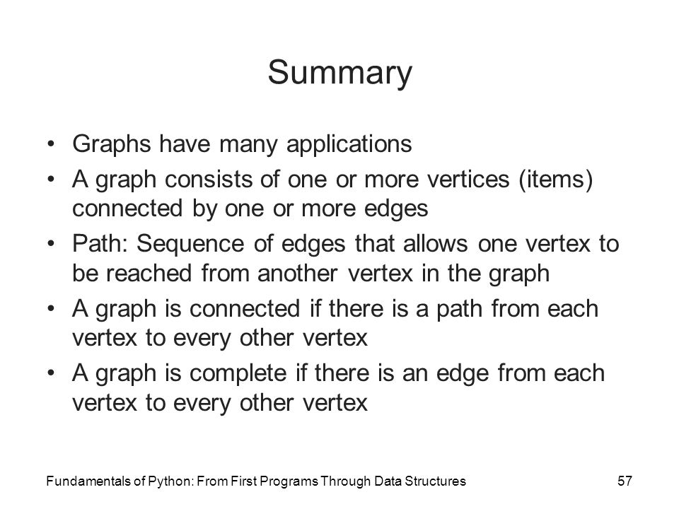 Fundamentals of Python: From First Programs Through Data Structures57 Summary Graphs have many applications A graph consists of one or more vertices (
