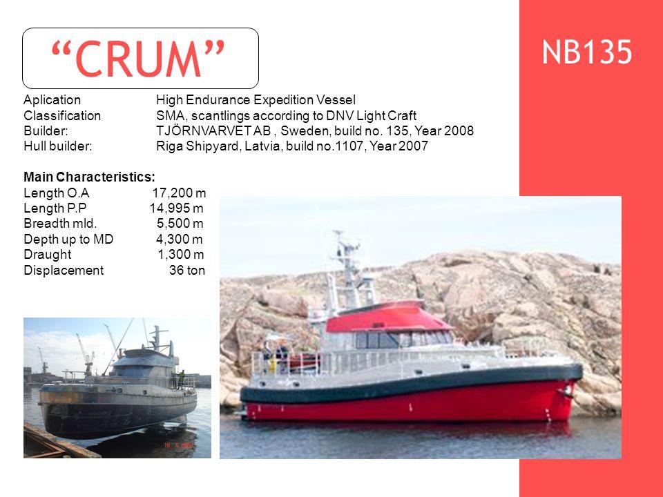 CRUM AplicationHigh Endurance Expedition Vessel ClassificationSMA, scantlings according to DNV Light Craft Builder: TJÖRNVARVET AB, Sweden, build no.