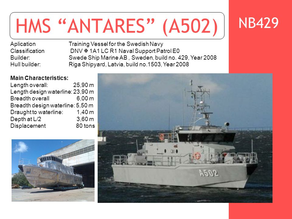"""HMS """"ANTARES"""" (A502) AplicationTraining Vessel for the Swedish Navy Classification DNV   1A1 LC R1 Naval Support Patrol E0 Builder: Swede Ship Marin"""