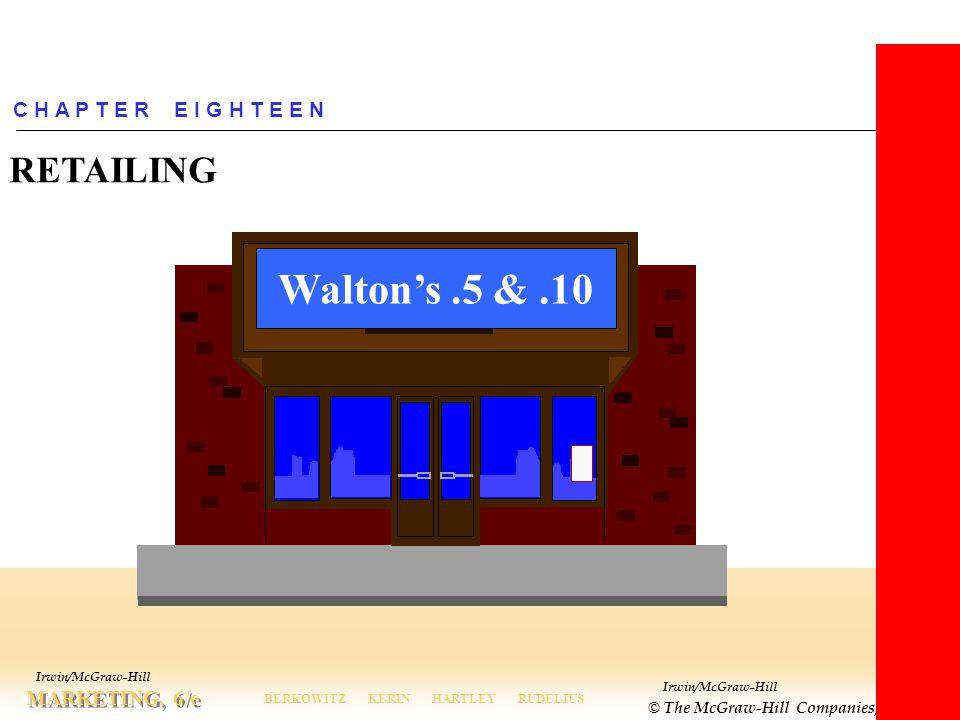 Irwin/McGraw-Hill © The McGraw-Hill Companies, Inc., 2000 MARKETING, 6/e BERKOWITZ KERIN HARTLEY RUDELIUS Irwin/McGraw-Hill C H A P T E R E I G H T E E N RETAILING Walton's.5 &.10