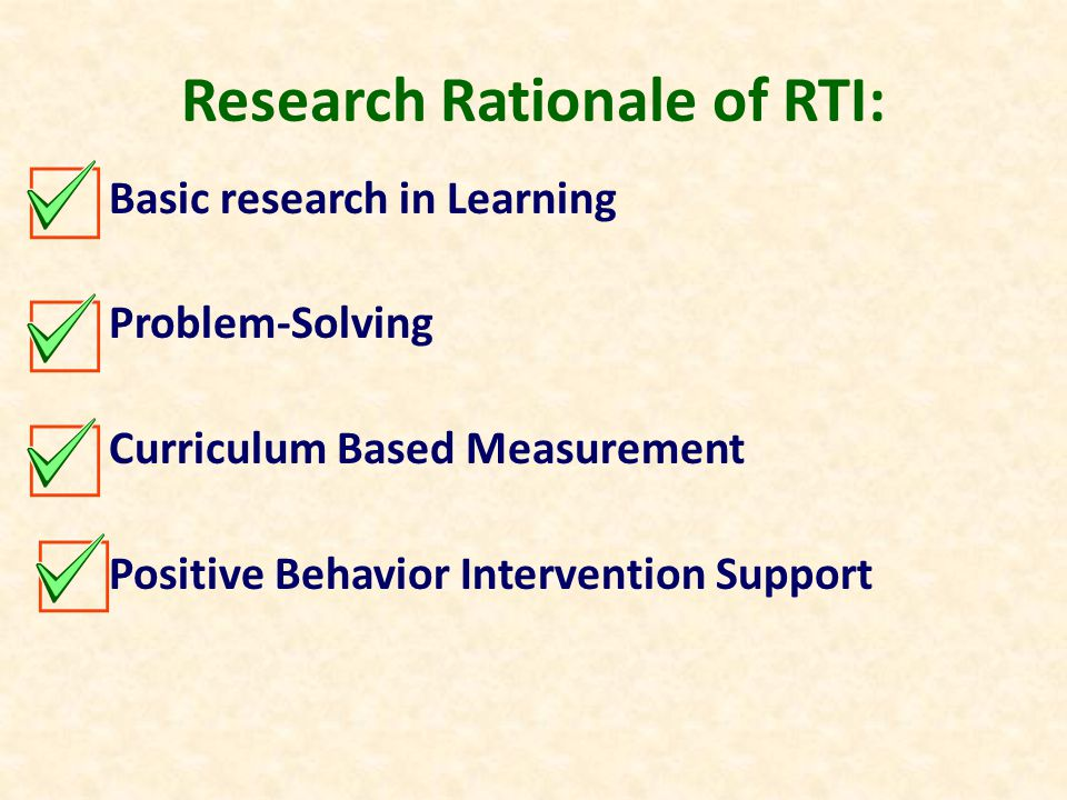 Legal Rationale of RTI: No Child Left Behind Individuals with Disabilities Education Act State Mandates