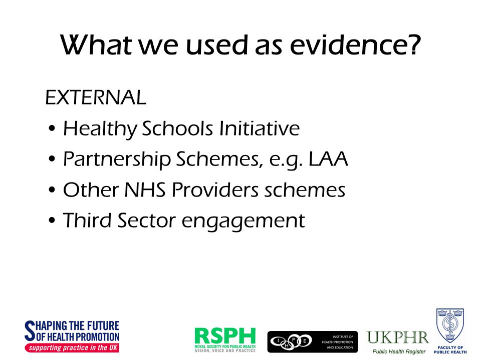 What we used as evidence. EXTERNAL Healthy Schools Initiative Partnership Schemes, e.g.