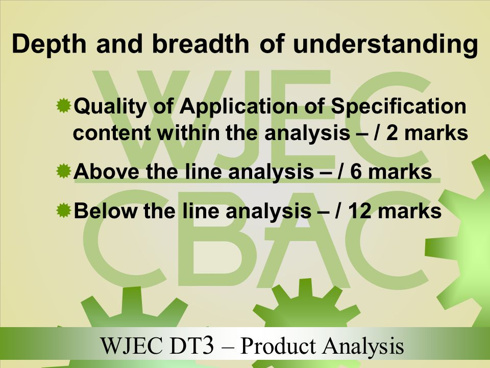 WJEC DT 3 – Product Analysis Depth and breadth of understanding  Quality of Application of Specification content within the analysis – / 2 marks  Ab
